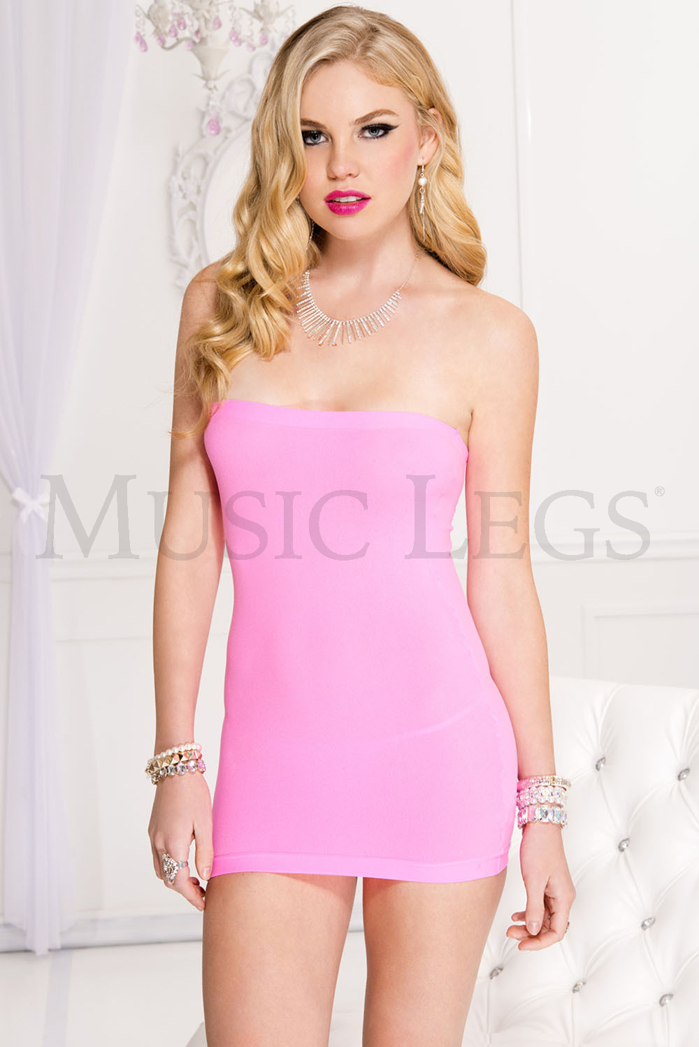 New Music Legs 60007 Wet Look And Lace Sleeveless Dress